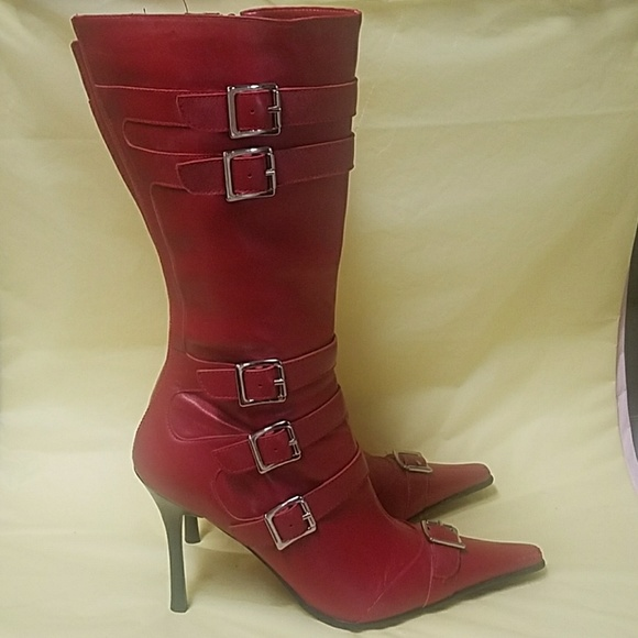 486e8d5ae1ace bp Shoes - Chic and sexy red boots with buckles   pointed toe